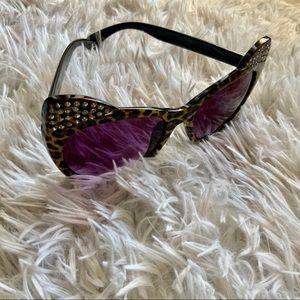 Betsey Johnson Accessories - Betsey Johnson Leopard Cat Ear Bling Sunglasses